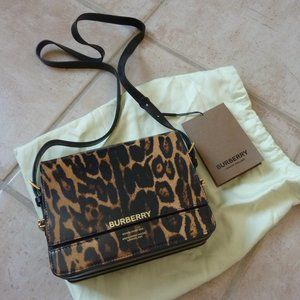 BURBERRY 'Grace' Leopard Print Crossbody Bag - NEW
